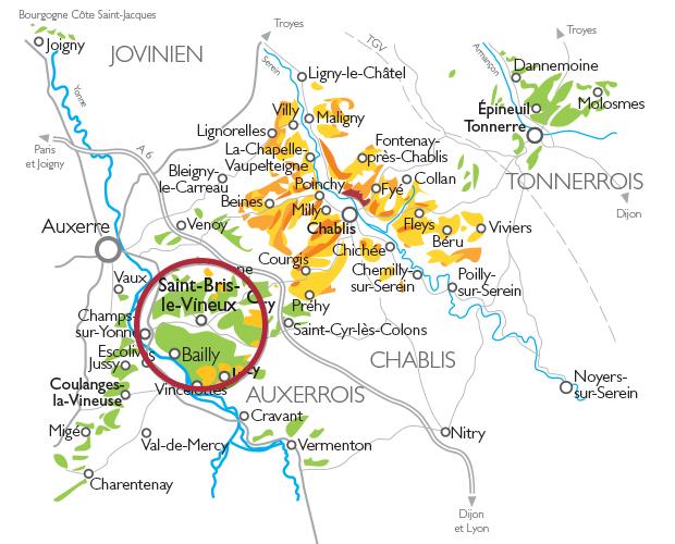 Carte Appellation Bourgogne Côtes d'Auxerre